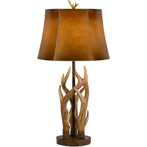 Table Lamps 1 Light Fixtures with Antler Finish Resin Material E26 Bulb 16