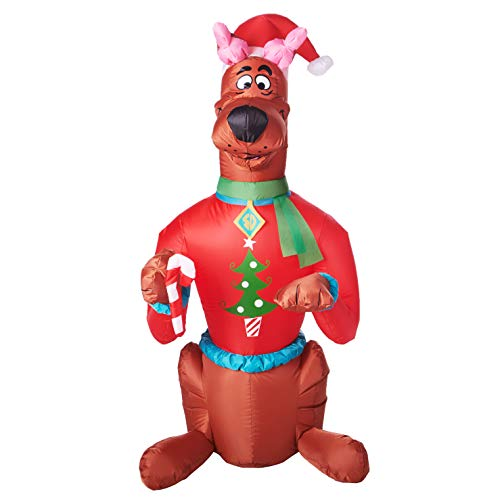 Gemmy Inflatable 5Ft Scooby Doo Wearing a Christmas Sweater and Santa Hat Outdoor Holiday Decoration (Inflatable Scooby Doo Christmas)