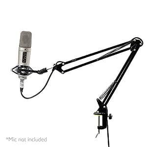 Pyle PMKSH01 Suspension Boom Scissor Microphone Stand/Studio Radio Shock Mount Mic Holder, Adjustable/Extendable