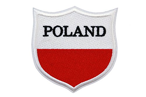 Poland Flag Embroidered Patch Shield (3