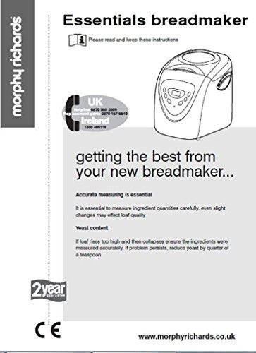 morphy richards bread machine maker instruction manual recipes rh desertcart ae Morphy Richards Store Morphy Richards Toaster