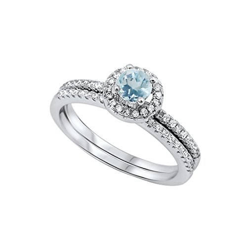Dazzling Halo Wedding Bridal Matching Band Ring Round Simulated Aquamarine 925 Sterling Silver, (Aquamarine Round Ring)