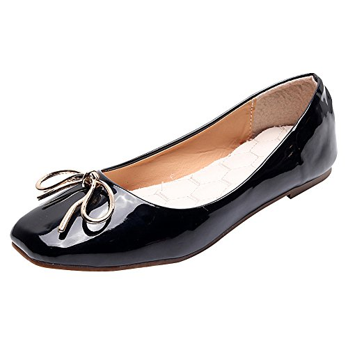 Patent Ballerina Slipper Black - Jamron Women Soft Patent PU Leather Ballerinas Dolly Shoes Loafer Flats with Lovely Tie Black SN02922 US10