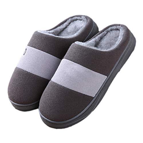 Pantoffeln AMINSHAP Männlichen Winter Indoor Baumwolle Hausschuhe Soft Bottom Rutschfeste Heavy-Bottom Warm Plüsch Hausschuhe Paar (Farbe : Gray, größe : 41-42EU) Gray