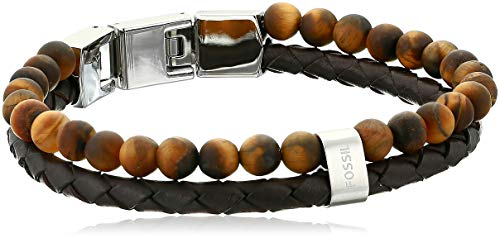 Fossil Men's Tiger's Eye and Brown Leather Bracelet, One (Fossil Brown Leather)