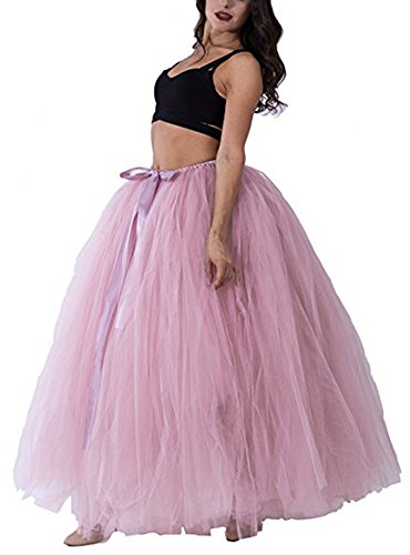 PROMLINK Long Puffy Tutu Tulle Skirt for Women 7-Layer A-line Party Petticoat