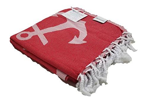 Mint Green InfuseZen Reversible Anchor Print Turkish Towel Thin Nautical Hammam Fouta Extra Large Peshtemal Beach Towel or Bath Towel