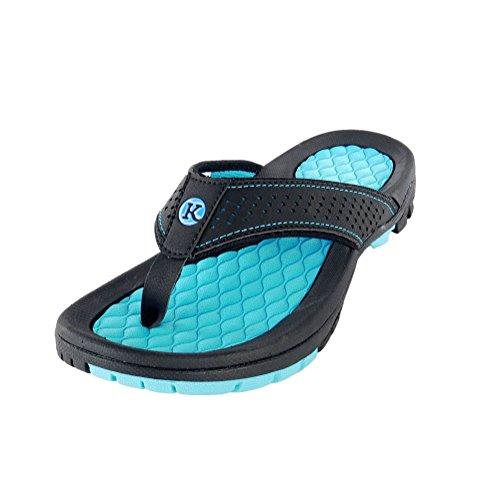 Kaiback Men's Lakeside Sport Flip Flop Sandal (11, Blue) ()