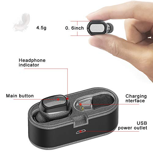 Wireless Earbuds, Bluetooth Headphones Waterproof Headset 3D Stereo Sound Ear Plugs Ture Wireless Earphones Bluetooth 5.0 Earphone Built-in Mic with Charging Case for Running Sport