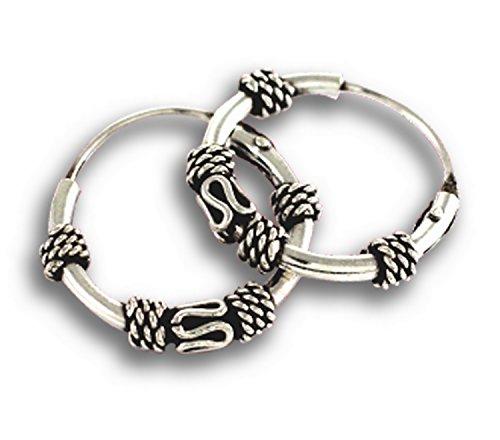 925 Sterling Silver Bali Earring Hoops Black Oxidized 1/2