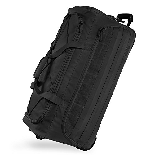 "Highland Tactical 30"" Squad Large Tactical Rolling Duffel Bag, Black, One Size"
