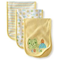 Gerber Unisex-Baby 3 Pack Terry Burpcloths Frog, Yellow, One Size