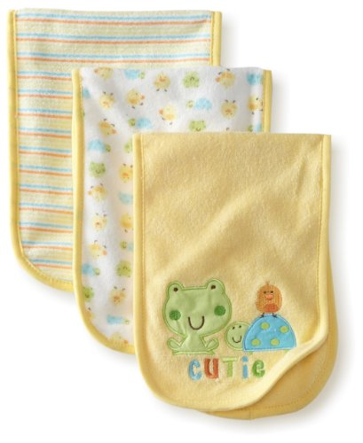 Frog Terry (Gerber Unisex-Baby  3 Pack Terry Burpcloths Frog, Yellow, One Size)