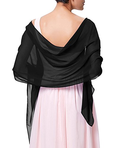 Kate Kasin Black Chiffon Bridal Evening Party Scarves Shawls KK229