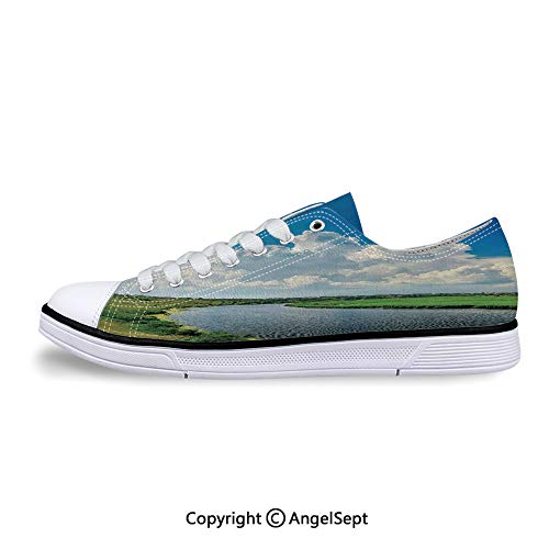 Sneakers for Ladies River Landscape with Lush Meadows Low Top Canvas -
