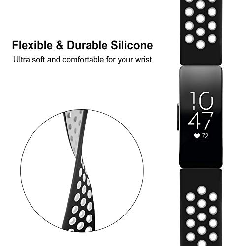 DYKEISS Sport Band Compatible for Fitbit Inspire HR Fitness Tracker Band, Soft Silicone Replacement Accessory Women Men Breathable Wristband Strap (Large, White/Black)