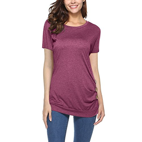 Letters-from-Iceland Women's Short Sleeve Round Neck Button Solid Tunic T-Shirt Blouse Tops Plus Size,(C.I.I.) m.p,Wine