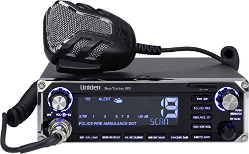 affordable Uniden BEARTRACKER 885 Hybrid Full-Featured CB Radio + Digital TrunkTracking Police/Fire/Ambulance/DOT Scanner w/ BearTracker Warning System Alerts, 40-channel CB, 4-Watts power, 7-color display.