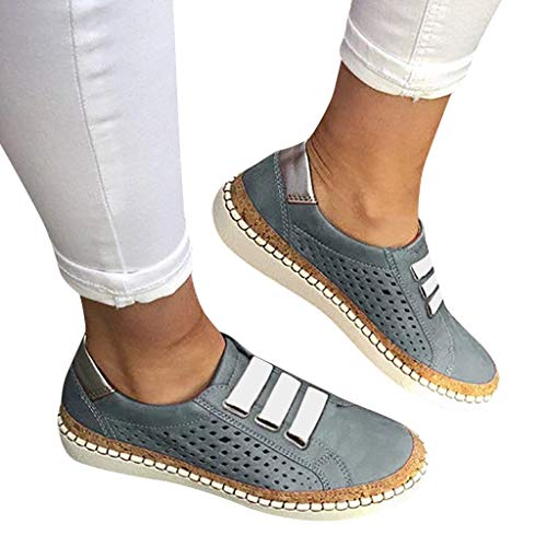 Slip Ons Sneakers Shoes - Womens Memory Foam Cushioned Insole Flat Shoes Hollow Out Casual Slip-On Driving Loafers Athletic Running Sneakers (US:8, Gray 02)