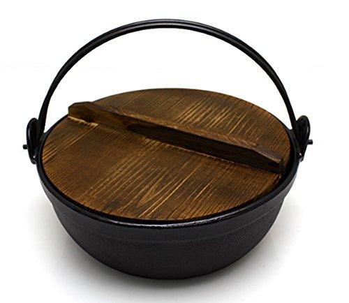 Elvan Coating Shabu-shabu Cast Iron Pot Nabe Pot Casting Pan Noodle Shabu-shabu Hotpot (24CM) by Living Mate