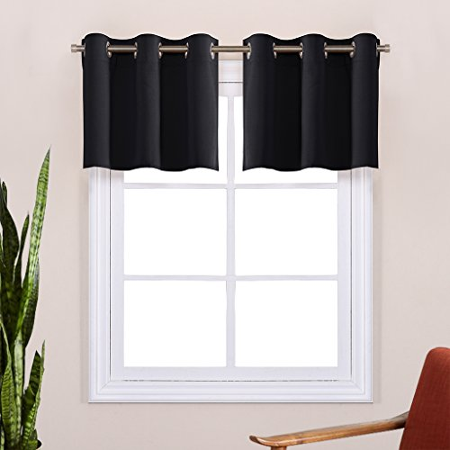 Black Small Window Valances Curtains - Thermal Insulated ...