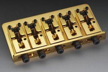 Schaller 5-Str Bass Bridge Gold w/Adj. 2-7/16''-3-3/16'' Allparts BB-3535-002