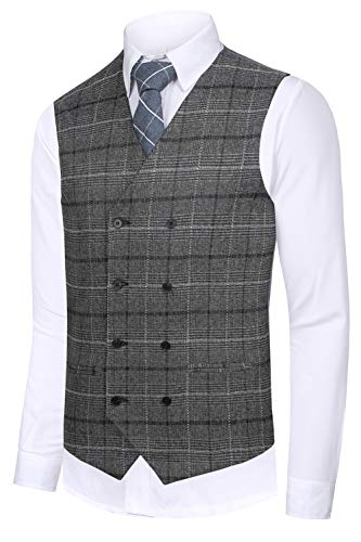 Hanayome Men's Bozzy Grey plaid Slim Fit Shaped Gilet Suit Vest 2017 New Waistcoat,Grey 1,S(US Tag Chest 36