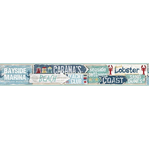 York Wallcoverings NY4877BD Nautical Living Beach Signs Border, Caribbean ()