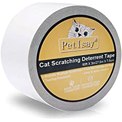 PetIsay Anti-Scratch Cat Scratching Deterrent Tape | Scratch Control Aid | Double Sided Cat Training Sticky Tape, Clear, 3In x 30Yd (Single Roll)