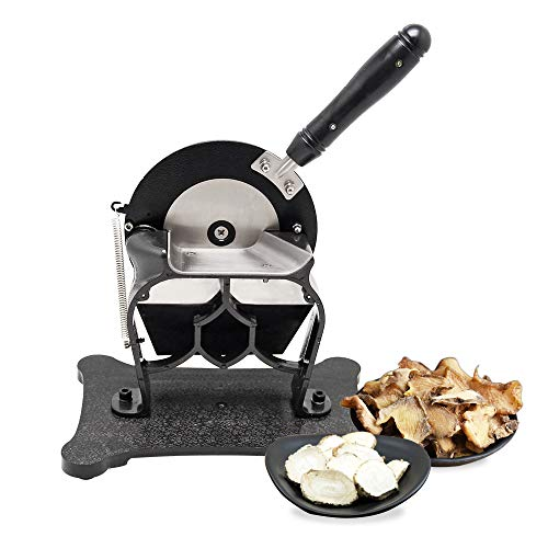 1 Piece Slicers - Hanchen Manual Herbs Slicer for Ginseng/Gastrodiae/Nut/Pilose Antler Adjustable Thickness 0.3-3mm 120 Pieces/Min Stainless Steel Blade Size: Diameter 110mm Thickness 4.5mm
