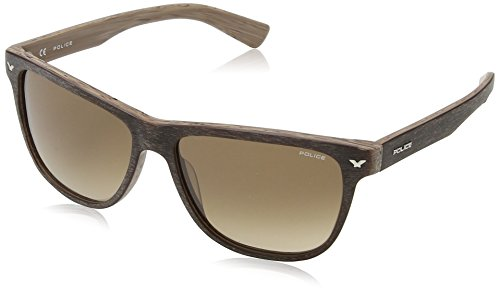 Police Men's S1953M 560NKF Wayfarer Sunglasses, Matte Brown & Gradient Brown, 56 - Wayfarer Police Sunglasses
