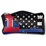 GLing-LIFE Hawaii Thin Blue Line Flag USA Portable Voyage Pillow Travel Pillow and Eye Mask 2 in 1 Neck Head Support for Airplanes, Cars, Office Naps, Camping, Trains