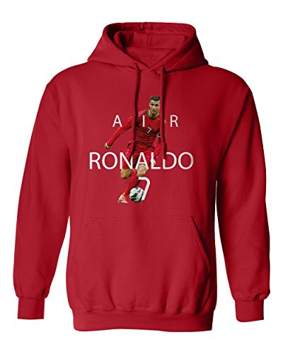 SMARTZONE RED Cristiano Ronaldo Portugal AIR Soccer Youth Boys Girls Hoodie Sweatshirt (Red,YM)