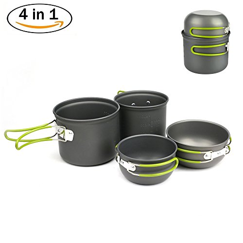Price comparison product image Donyer Outdoor Camping Cookware Set 4 Pieces, Lightweight Compact Durable Camping Bowl Pot Pan for Camping Backpacking Hiking Picnic for 2-3 Persons