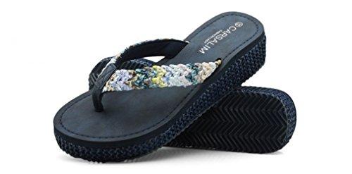 XING GUANG dans L'été avec Les Tongs L'été Féminin Nouvelle Usure Sauvage La Plage Sandales Antidérapantes à Semelles épaisses,Blue(38) Blue(36)