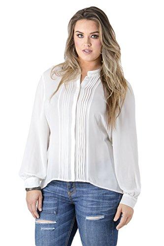 Standards & Practices Curvy Women's Plus Size White Tuxedo Pleat High Low Chiffon Blouse Size 2X (Chiffon Tuxedo)
