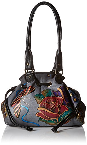 Anuschka Anna by Handpainted Leather Draw-String Tote, Rose Safari Grey