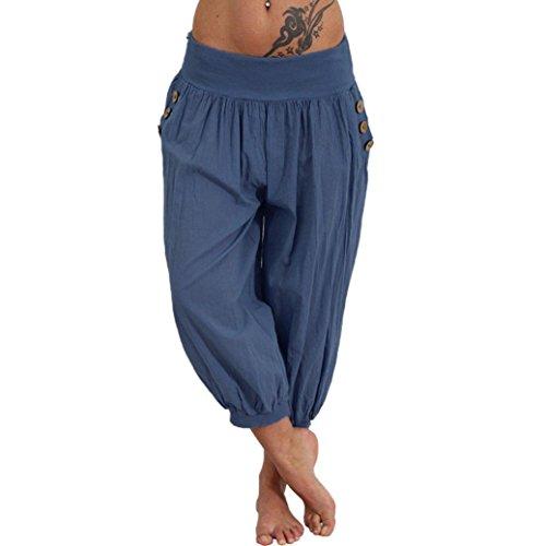 (Clearance Women Trousers on Sale vermers Women Elastic Waist Boho Check Pants Baggy Wide Leg Summer Casual Yoga Capris(L, Blue))