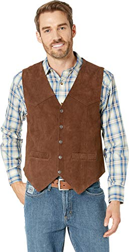 (Scully Men's Rugged Calf Suede Vest Dark Brown Large)