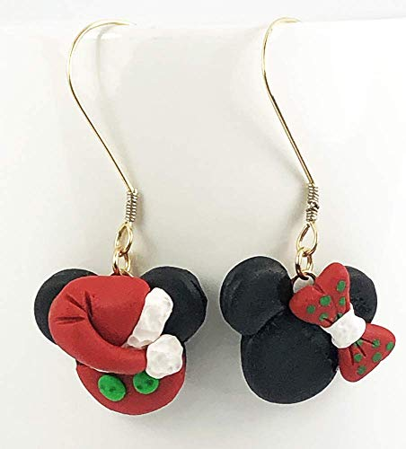 Christmas Disney Inspired Dangle Earrings Santa Mickey Mouse and Mrs Clause Minnie Mouse Head Polymer Clay Jewelry