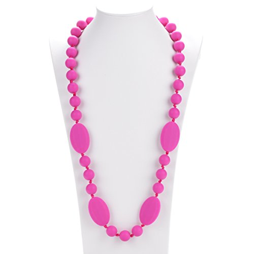 (Consider It Maid Silicone Teething Necklace for Mom to Wear - FREE E-BOOK - BPA FREE and FDA Approved - Peas in a Pod (38 Inch Violet Red))