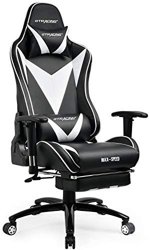 GTRACING Gaming Chair with Footrest Ergonomic Racing High Back Swivel Desk Chair Adjustable Headrest and Lumbar Support Recliner Napping Chair GT004 Black/White Bungee Executive Office Chair