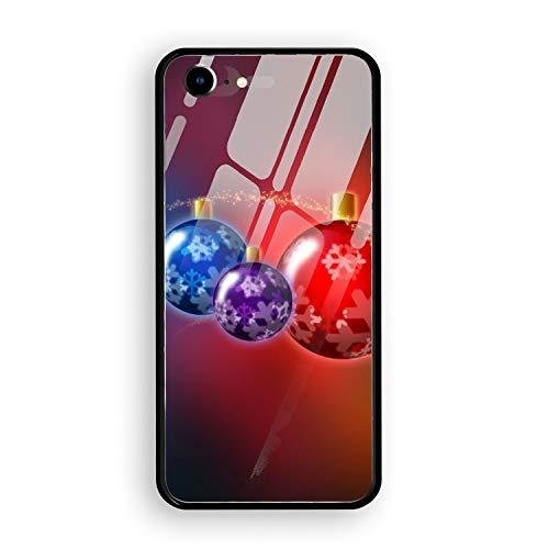 (iPhone 7 Case,Tempered Glass Case Soft TPU Bumper Holiday Christmas Ornaments Phone Case Compatible for iPhone)