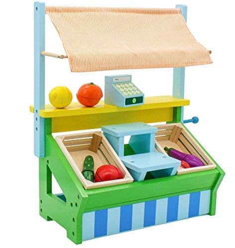 T FRUIT and VEGETABLE STAND - Kid's Playroom Grocery Stand for Pretend Play - Includes Fruit, Cash Register, and Shopping Bags ()