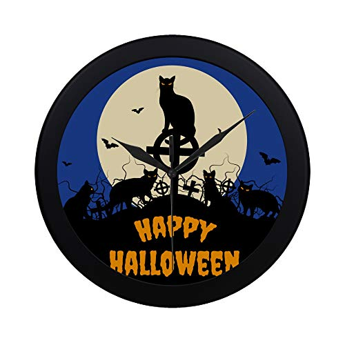 WBSNDB Modern Simple Halloween Black Cats and Full Moon Pattern Wall Clock Indoor Non-Ticking Silent Quartz Quiet Sweep Movement Wall Clcok for Office,Bathroom,livingroom Decorative 9.65 Inch -