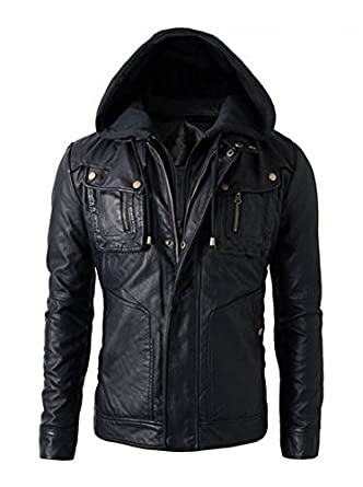 2266e5810a3a SNAZZY Men's Motorcycle Brando Style Biker Real Leather Hoodie Jacket -  Detach Hood (XL -