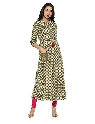 Aaboli Cotton Kurta for Women 3/4th Sleeve Mandarin Collar Long Dress Printed Tunic Casual Kurti for Women Ladies Partywear