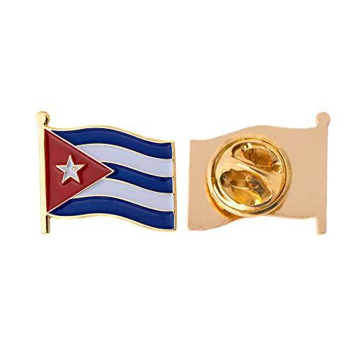 Cuba Country Flag Lapel Pin Enamel Made of Metal Souvenir Hat Men Women Patriotic Cuban (Waving Flag Lapel Pin)