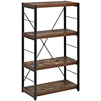 ComfortScape 3 Tier Modern Oak Corner Bookcase for Home Office, Weathered Oak