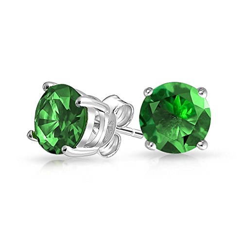 (1Ct Green Round Cubic Zirconia Brilliant Cut Solitaire AAA CZ Stud Earrings 925 Sterling Silver Simulated Emerald 7MM)